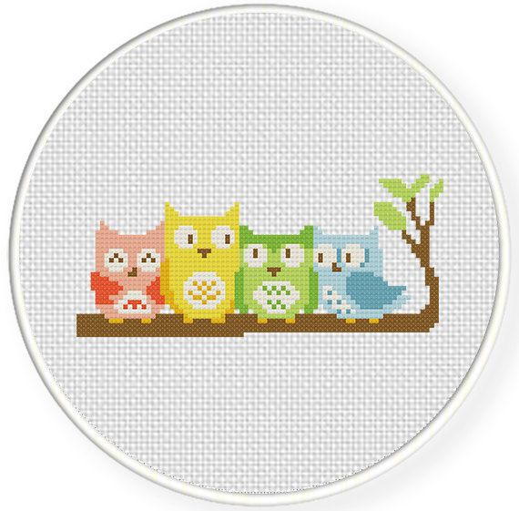 INSTANT+DOWNLOAD+Owl+Friends+PDF+Cross+Stitch+by+DailyCrossStitch,+$2.99