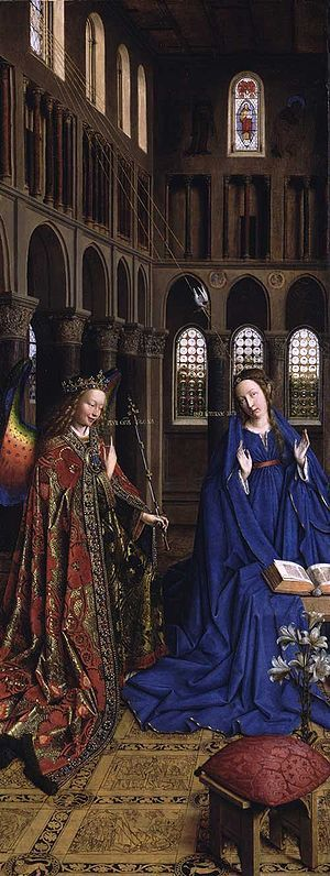The Annunciation, painted c. 1434-1436 by Jan van Eyck, oil on canvas transferred from panel, National Gallery of Art, Washington D.C. Angel Gabriel with rainbow colored wings and crown. The Seven gifts of the Holy Spirit descend to Virgin Mary on seven rays of light from the upper window to the left, with the dove symbolising the Holy Spirit following the same path.