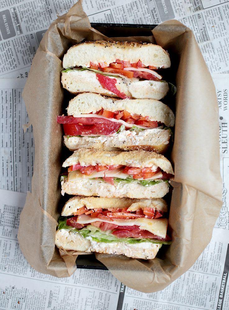 Veggie bagel sandwich. #food
