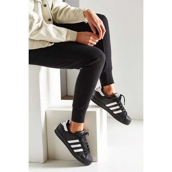 adidas Black Superstar Sneaker ($80) ❤ liked on Polyvore featuring shoes, sneakers, black, black shoes, black sneakers, adidas trainers, adidas footwear and black rubber soled shoes