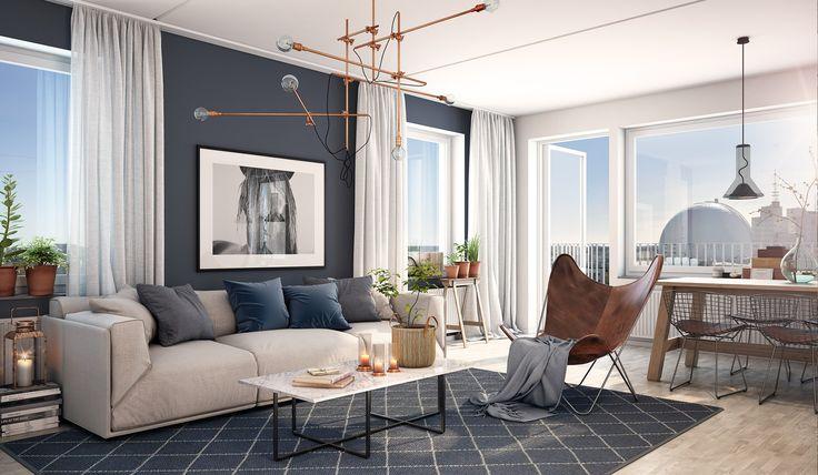 Öppna planlösningar ger fin rymd. Lägenheterna har eleganta materialval med ljus askparkett och vitmålade väggar (3D-bild).