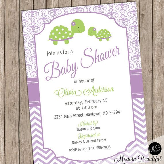 Purple Turtle baby shower invitation  baby girl by ModernBeautiful