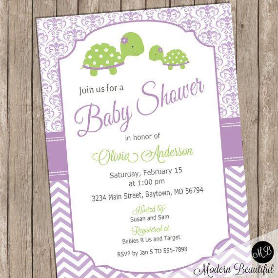 Purple Turtle baby shower invitation  baby girl by ModernBeautiful
