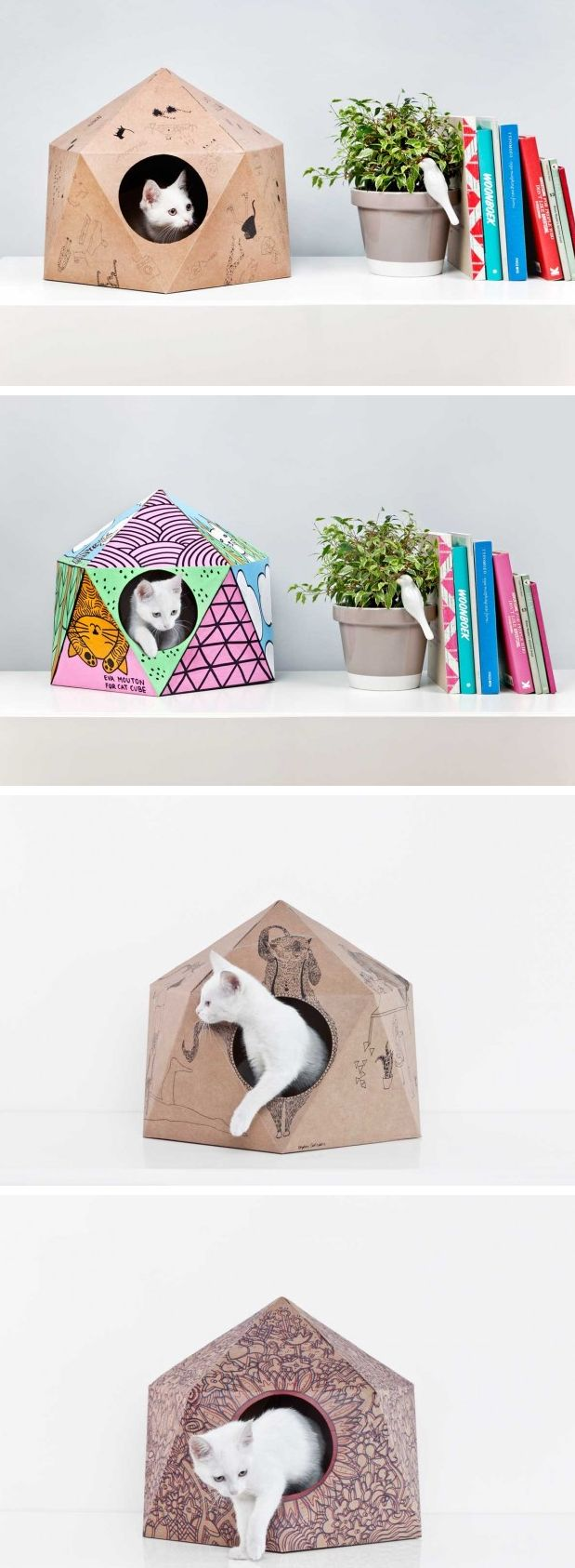 Delphine Courier has designed the CatCube, a geometric nest made from cardboard that is designed and manufactured in Belgium.