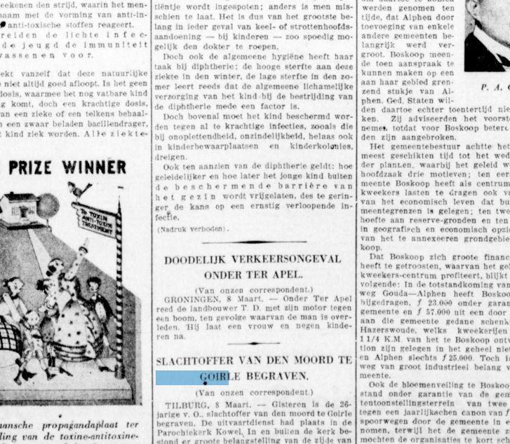 SLACHTOFFER VAN DEN MOORD TE GOIRLE BEGRAVEN. Krantentitel: De Telegraaf Datum, editie:08-03-1930