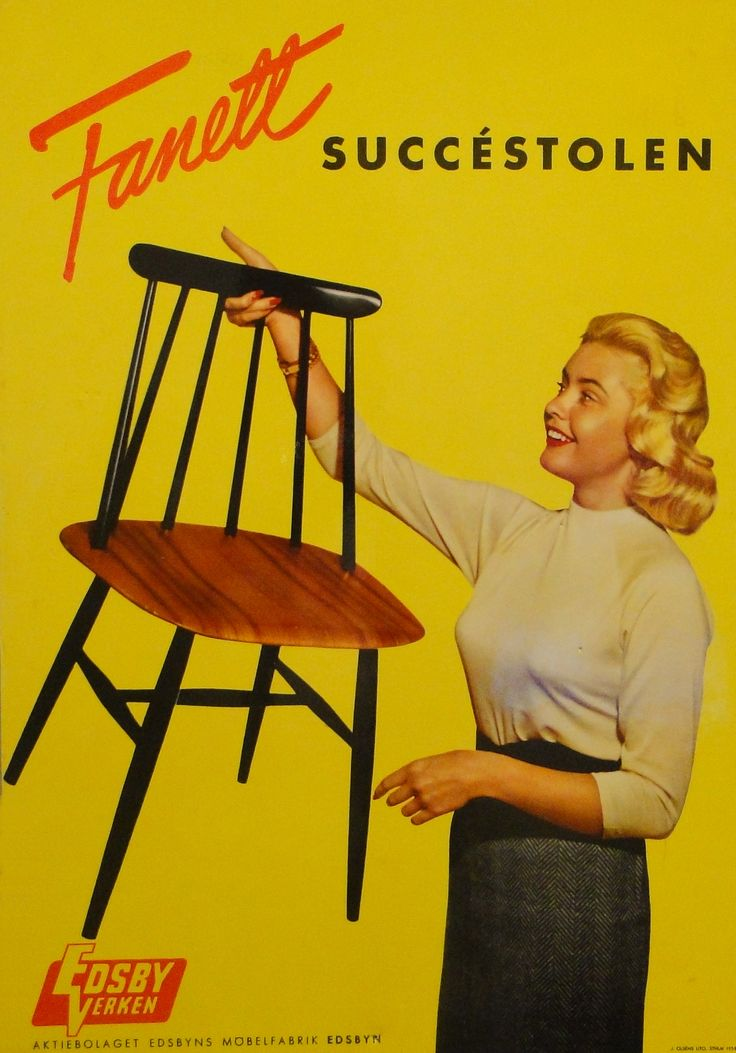 Our Fanett chair featuring Hillevi Rombin, Miss Universe 1955. #edsbynoffice #edsbynclassic #advertising #fanett #IlmariTapiovaara #chair #MissUniverse #HilleviRombin #1955
