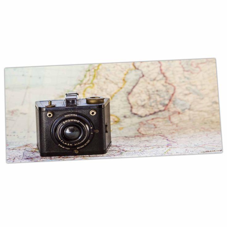 """Debbra Obertanec """"Travel Time"""" Black Beige Desk Mat"""