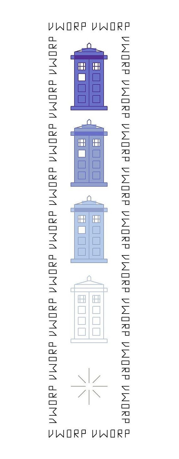 Doctor Who Bookmark Pattern Disappearing TARDIS von DaleksTeahouse