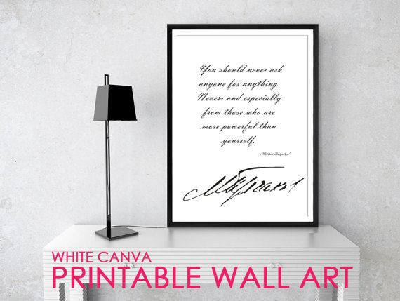 NEVER ASK Bulgakov Quote Posters Printable Quotes by WhiteCanva
