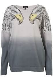 topshop eagle Gray Eagle Stud Shoulder Sweat