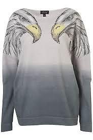 topshop eagle Gray Eagle Stud Shoulder Sweat