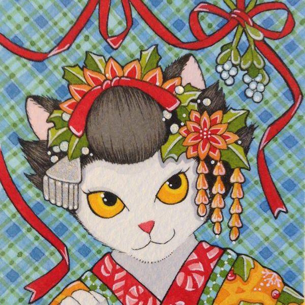 aceo maiko geisha kitty cat japanese kimono moussart sfa