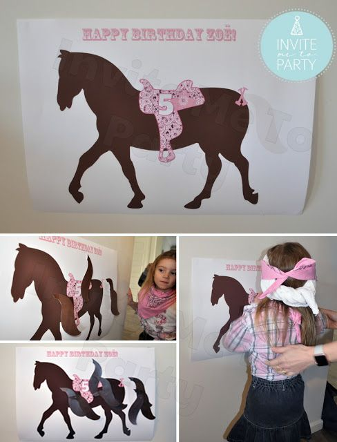 Pin the Tail on the Horse Invite Me To Party: Cowgirl Party / Cowboy Party / Western Party