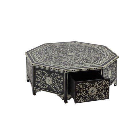Этот низкий кофейный столик в монохромной гамме – настоящее произведение искусства. Он выполнен из дерева в черном цвете и расписан в ручную. Столик покрыт флоральными узорами. цветами и листьями, практически по всей поверхности. Он имеет форму восьмиугольника, по бокам расположены функциональные ящики для хранения. Этот столик станет достойным украшением гостиной в классическом стиле или в стиле ар-деко.
