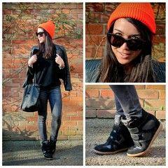 Urban Outfitters Hat, Skechers Wedge Sneakers, Longchamp Bag, and Celine Eyewear, Leather jacket