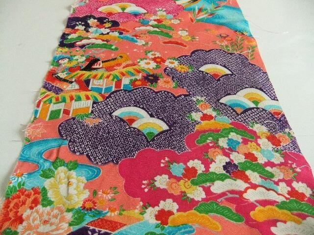Vintage Japanese Girl Kimono Silk Fabric