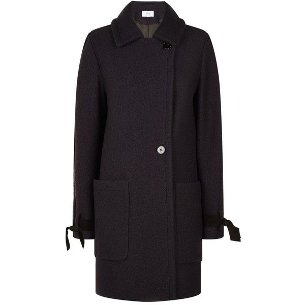 Reiss Aysha Bow Tie Coat ($390) ❤ liked on Polyvore featuring outerwear, coats, reiss, reiss coats and double-breasted coat