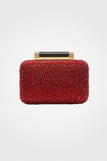 DVF | Tonda Small Crystal Clutch in garnet, #LoveIsHoliday