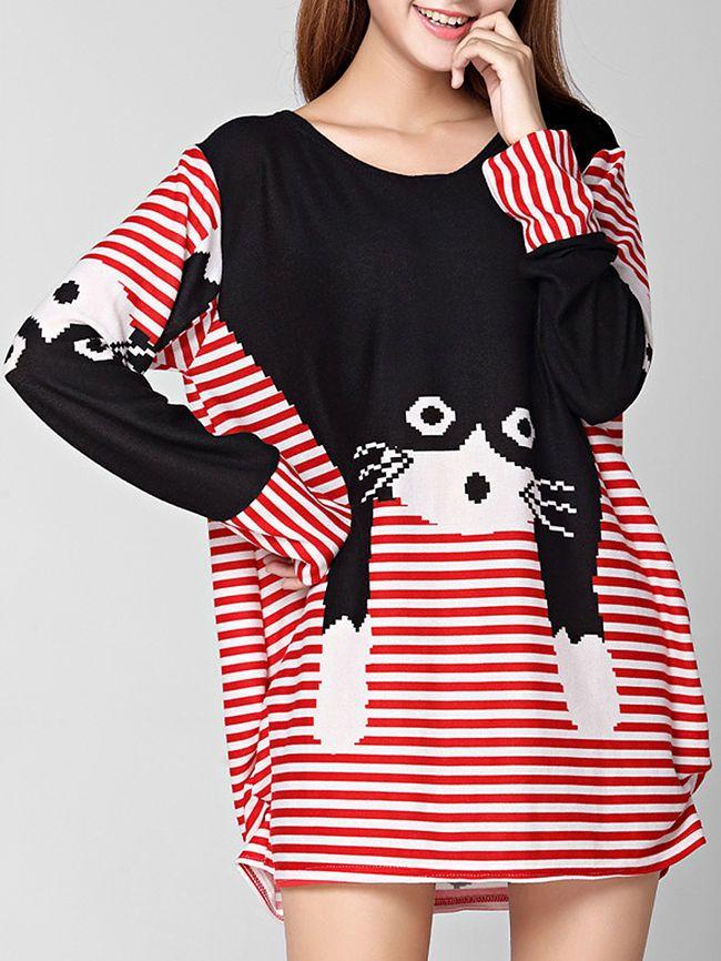 Round Neck Cat Color Block Striped Plus Size T-Shirt