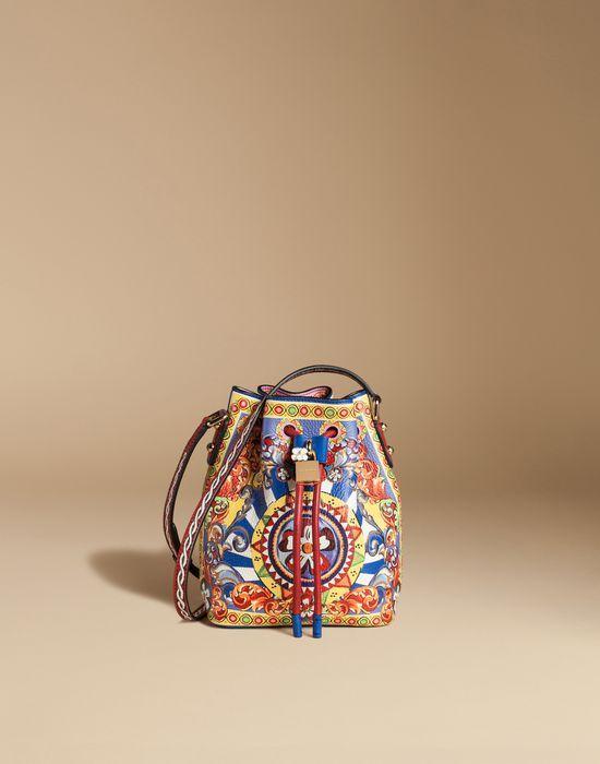 BORSA A SECCHIELLO PELLE DAUPHINE STAMPATA - Borse piccole in pelle - Dolce&Gabbana - Estate 2016