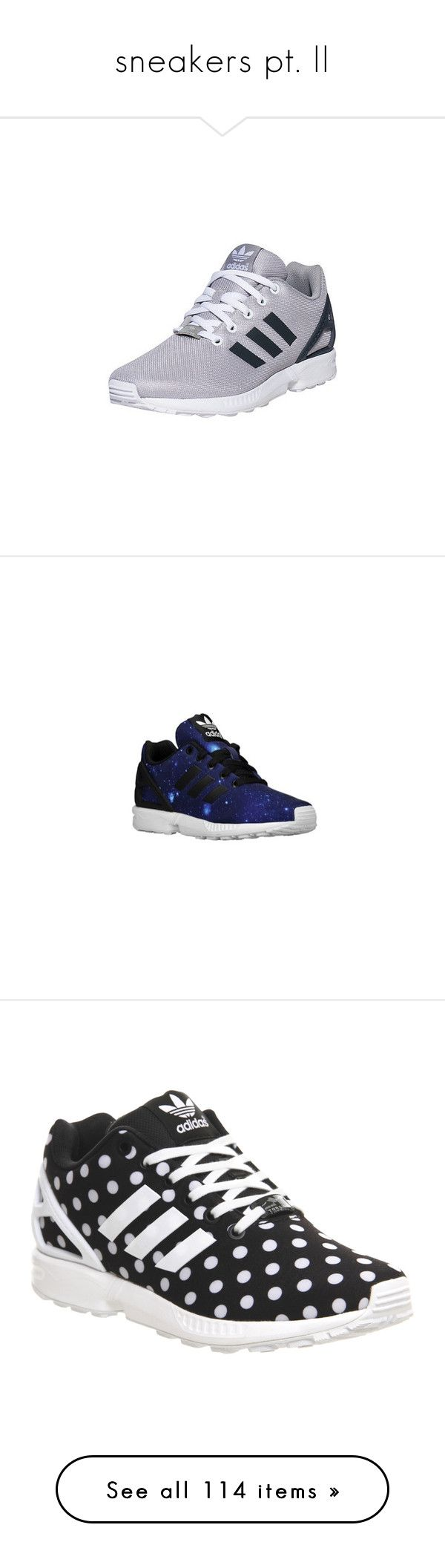 """""""sneakers pt. II"""" by cathxwut ❤ liked on Polyvore featuring shoes, sneakers, canvas sneakers, gray shoes, cushioned shoes, grey shoes, adidas sneakers, adidas, trainers and core black white polka dot"""
