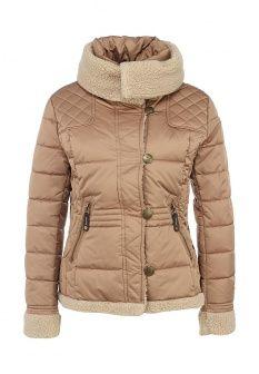 Куртка утепленная Sela, цвет: бежевый. Артикул: SE001EWFTF29. Женская одежда / Верхняя одежда / Пуховики и зимние куртки