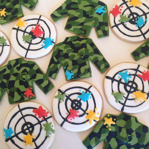 Camo Paintball Custom Sugar Cookies (one dozen)