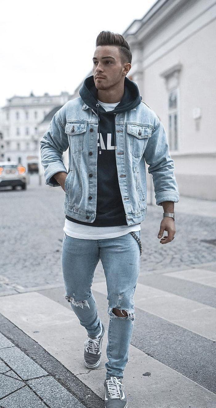 Denim Jacket Hoodie Sweatshirt Jeans Hoodie Outfit Men Stylish Men Casual Mens Casual Outfits