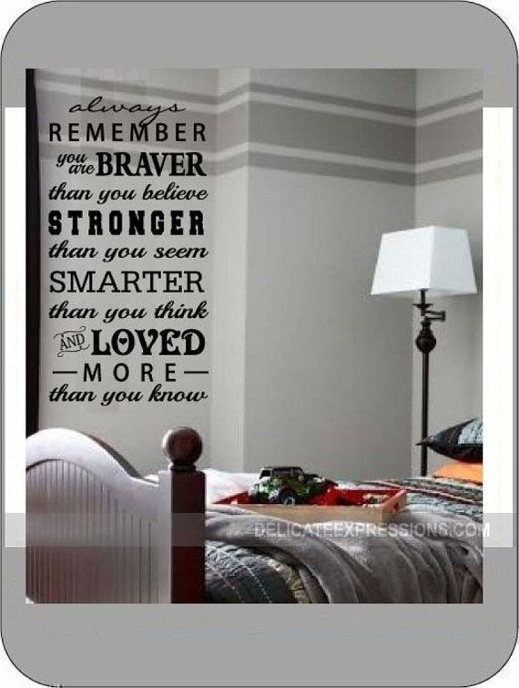 """Always remember you are braver that you believe, stronger that you seem, smarter than you thing, and loved more than you know"" Vinyl Lettering Wall Decal. Great for boys and girls of all ages (toddler, child, teen, and even adult). Available in various sizes and colors."