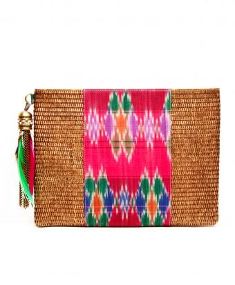 Bronze And Pink Cotton Ikat Rattan Clutch