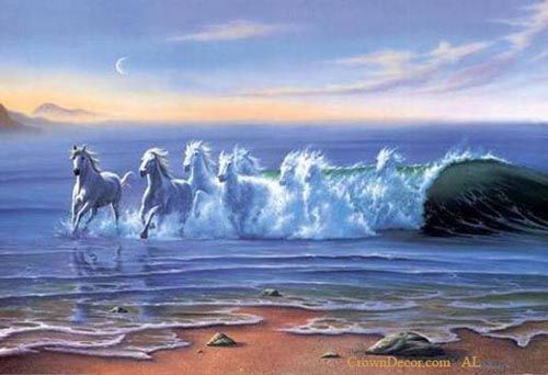 Oil Painting of White Horses on Water Wave the Horses are ...