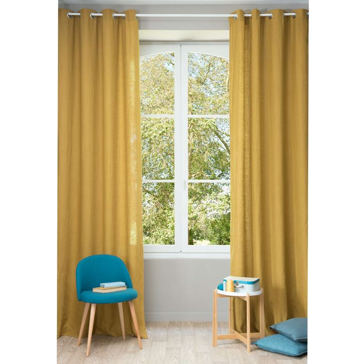 Washed Linen Eyelet Curtain In Mustard Yellow 130  Mustard Yellow Curtains
