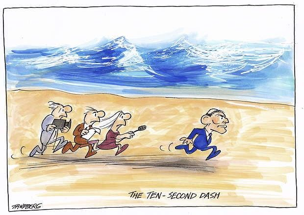 "CARTOON OF THE DAY Ron Tandberg  Something the new Prime Minister of Australia does when hard questions are being asked ""he run's away"" not the first time he has done this."