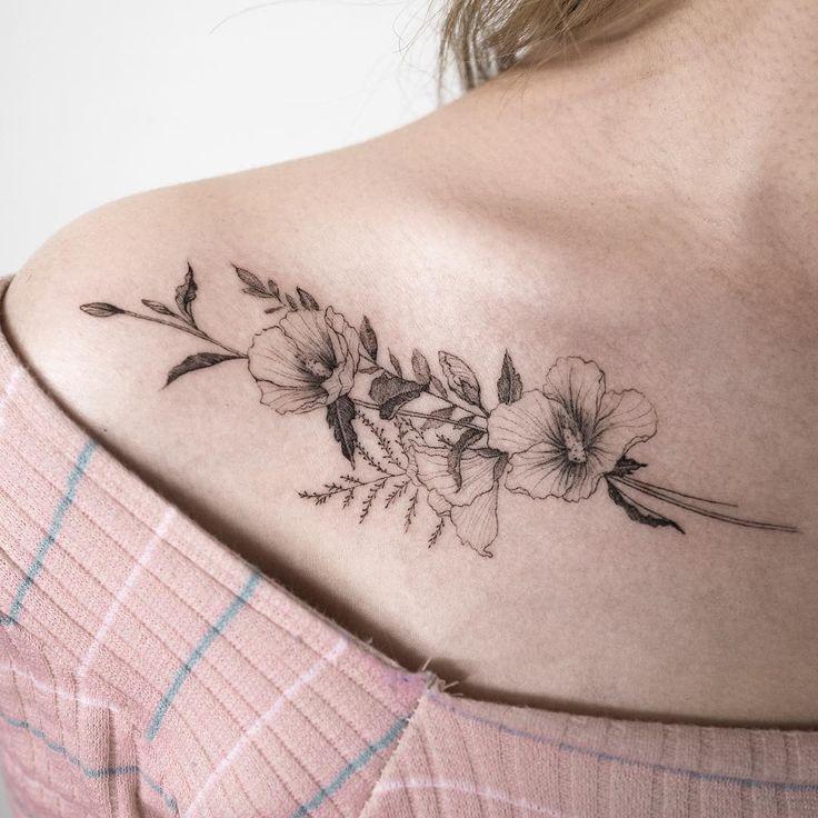 Delicate floral tattoo @ilwolhongdam