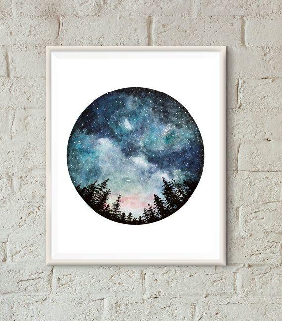 Aquarel Art Print, sterrenhemel, Forest Art, Circle Art, Decor van het huis, nachtelijke hemel, aard Print, ruimte kunst, kunst boom, landschap afdrukken