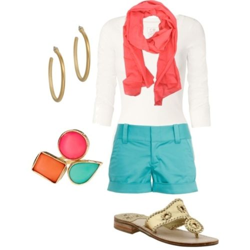 bright & preppy:: perfect for springtime: Fashion, Coral, Style, Color Combos, Spring Summer, Summer Outfits, Shorts, Spring Outfits, Bright Colors