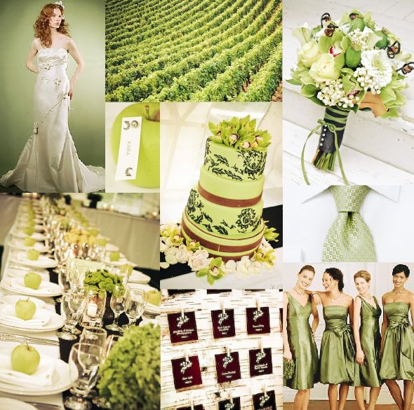 Look what a great pop of color a simple green apple on each plate imparts.  This palette of green cream and brown is tranquil and spa-like.