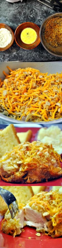 This cheddar baked chicken recipe tastes like butter and Cheezits!