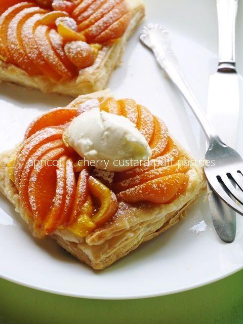 apricot + cherry custard puff pastries アプリコット+チェリーのカスタード・パフペイストリー
