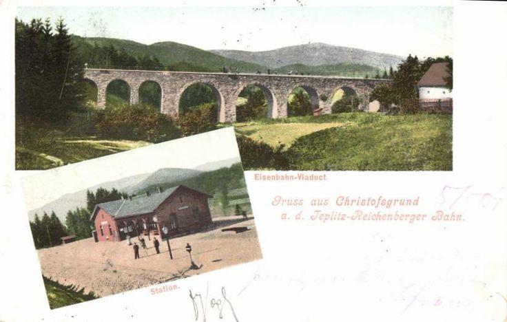 Nádraží v Kryštofově údolí a most v Novině