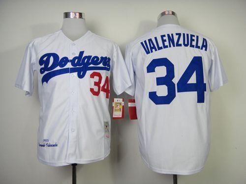 newest 4f153 f67a7 Mitchell And Ness 1955 Dodgers #34 Fernando Valenzuela White ...