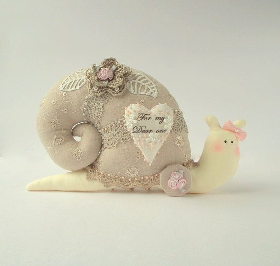 Shabby chic stuffed toy Snail plush Snail. by CherryGardenDolls, $27.00