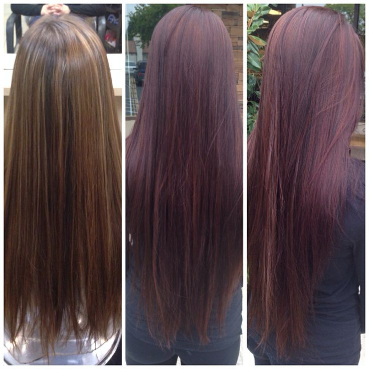 Before and after. Deep burgundy wine hair color with dark brown lowlights. BEAUTIFUL