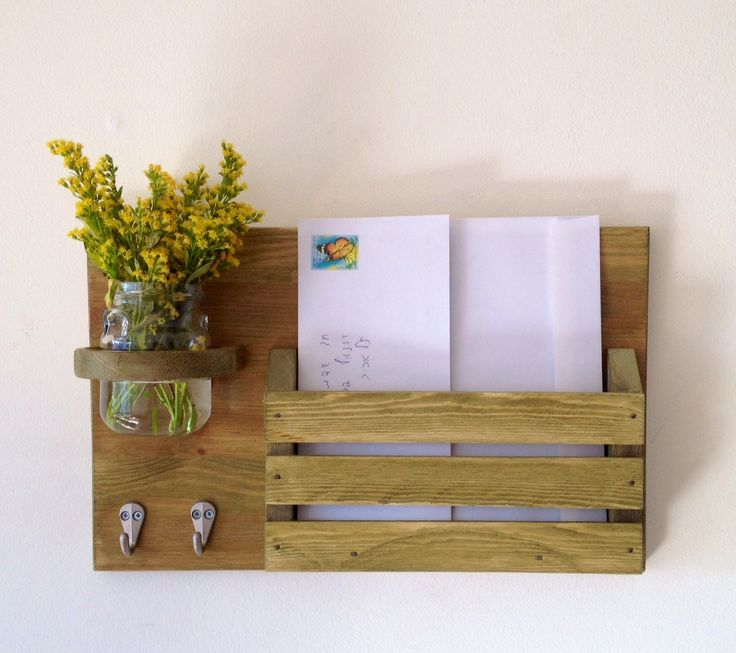 Beautiful wooden mail organizer with key hanger and jar for flowers (185.00 ILS) by APT8ecodesign