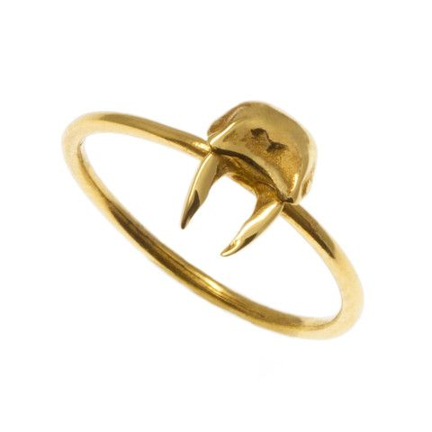 Tiny Stag Ring - gold Rachel Boston Jewellery