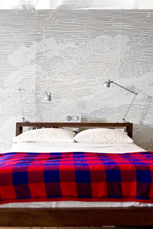 The imagery used in the vinyl mural behind the bed was adapted from a scan of a rare book engraving.