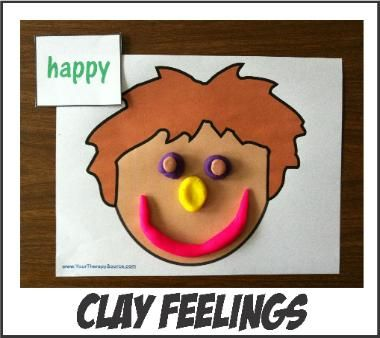Feelings Faces with Clay...free printables from The Therapy Source