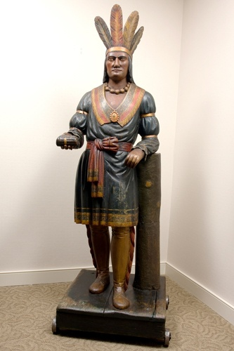Thomas V. Brooks Carved Cigar Store figure #indian #art #sculpture