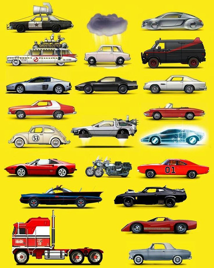 """This is so great, but the """"I, Robot"""" Audi is unnecessary, and this poster is sorely missing the Munsters Coach, the Monkee-Mobile, The Saint's Volvo, and Bandit's Trans Am. Love that the Automan car is represented though!"""