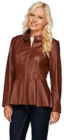 As Is Isaac Mizrahi Live! Peplum Leather Jacket
